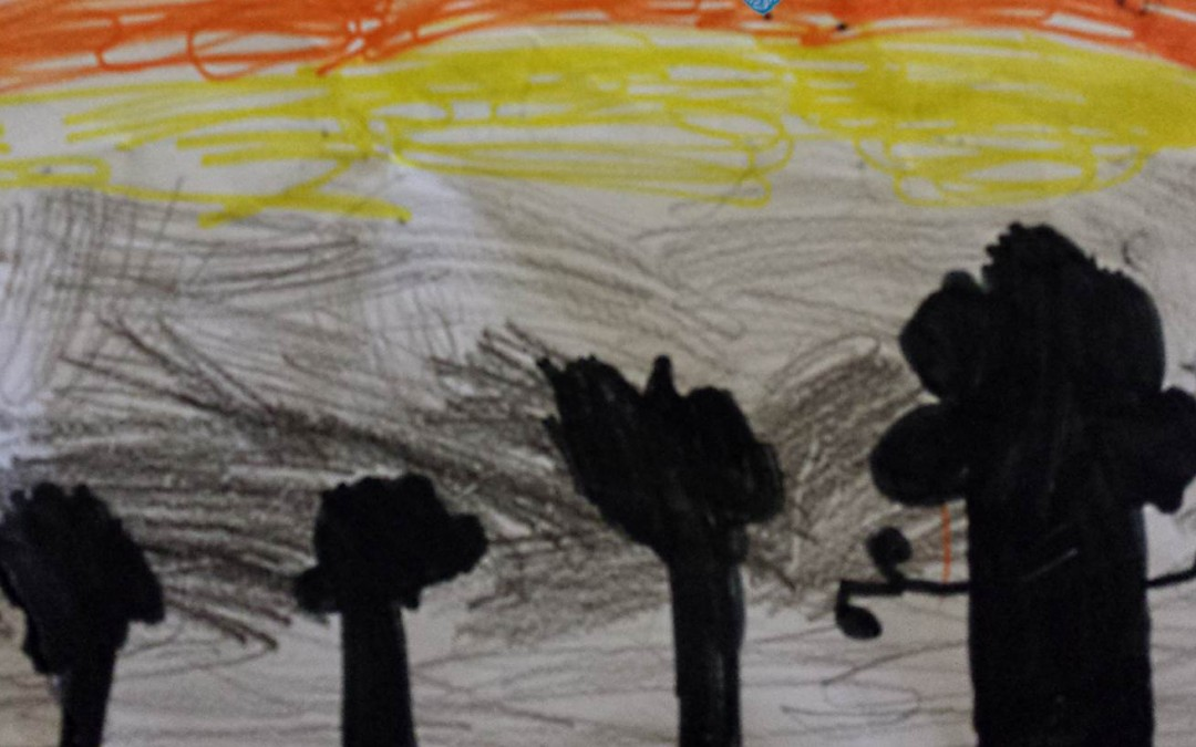 A drawn picture of a sunrise with trees in shadow in the foreground